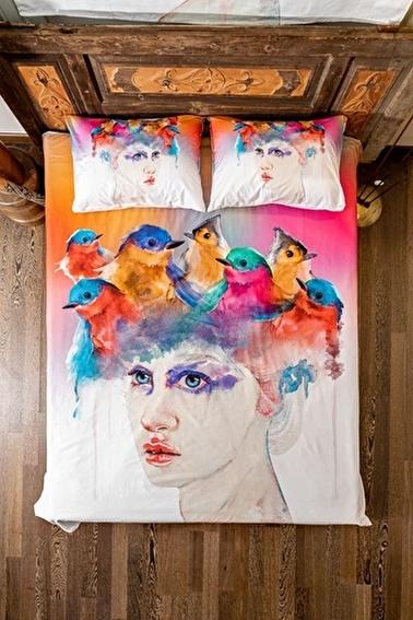 home-bath Çift Kişilik Nevresim Seti Flying Girls Renkli